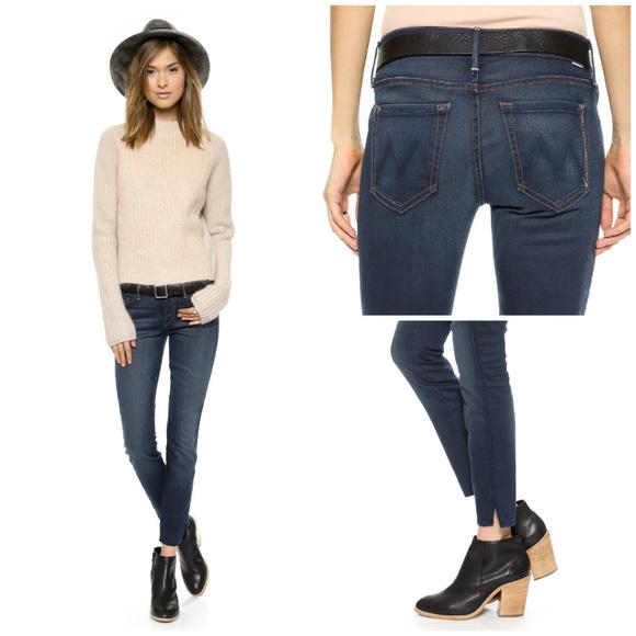 MOTHER Denim - MOTHER The Vamp Skinny Ankle Slit Dark Wash Jeans